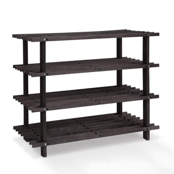 Solid Pine Wood 4-Tier Shoe Rack 5 Classic, Espresso